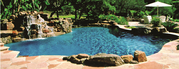 Natural rock swimming pools beach style pools koi ponds for Natural rock swimming pools