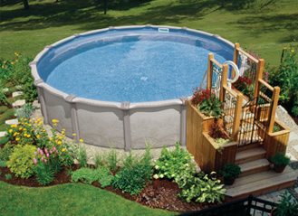 Things to consider for swimming pool installation that for Above ground pool decks for small yards